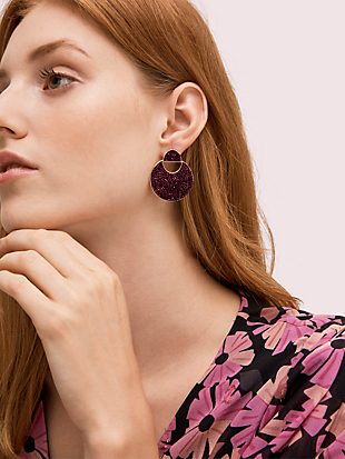 mod scallop pavé drop earrings by kate spade new york hover view