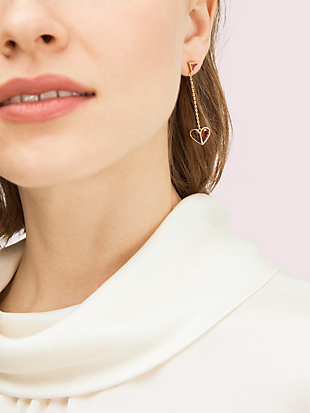 rock solid stone heart drop earrings by kate spade new york hover view