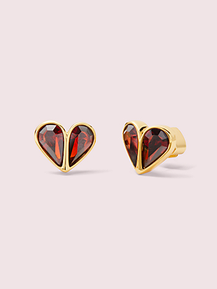 rock solid stone small heart studs by kate spade new york non-hover view