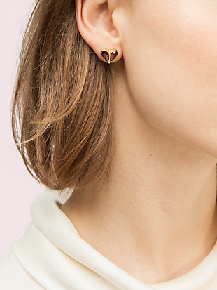 rock solid stone small heart studs by kate spade new york hover view