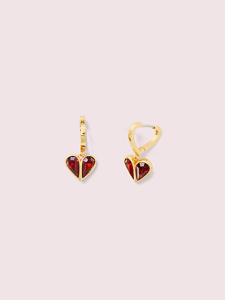 rock solid stone heart huggies, ruby/gold, large by kate spade new york