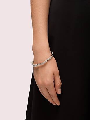 sliced scallops pavé hinged bangle by kate spade new york hover view