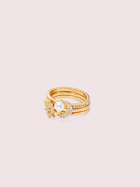 stargaze ring set, clear/gold, large by kate spade new york