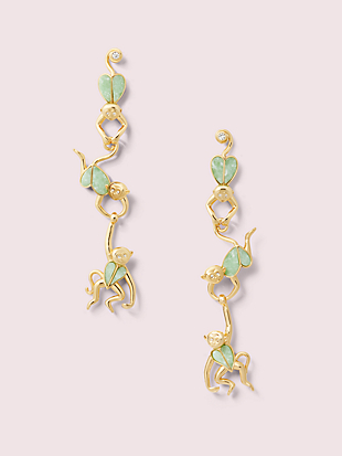 animal party monkey linear earrings by kate spade new york non-hover view