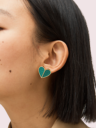 heritage spade textured heart statement studs by kate spade new york hover view