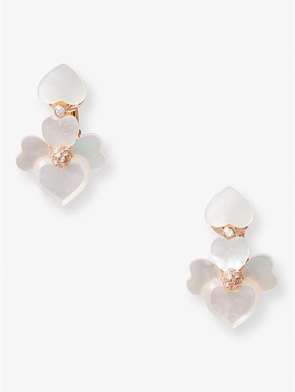 precious pansy clip-on drop earrings, , rr_large
