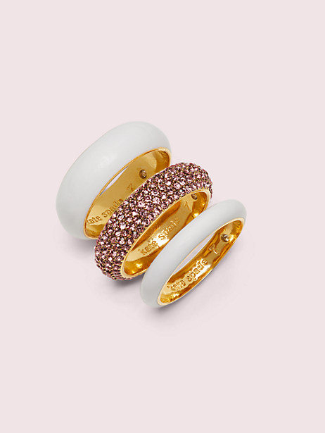 candy drops pavé ring set, white multi, large by kate spade new york
