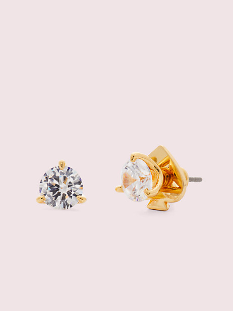 brilliant statements mini tri-prong studs, clear/gold, large by kate spade new york