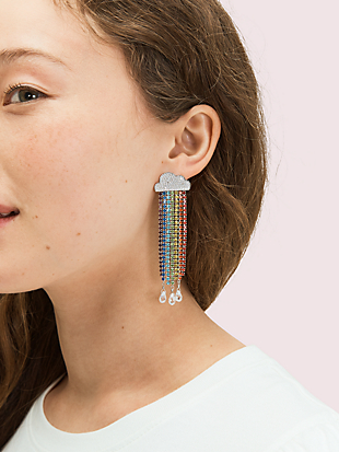 into the sky rainbow fringe linear earrings by kate spade new york hover view