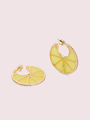 tutti fruity lemon hoops by kate spade new york non-hover view