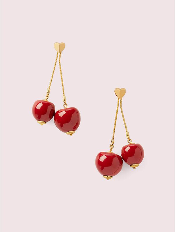 tutti fruity cherry linear earrings, , rr_large