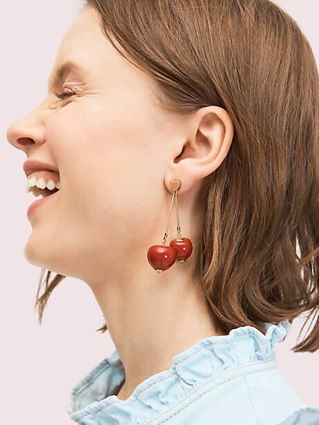 Tutti fruity cherry linear earrings | Kate Spade New York