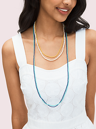seed bead multistrand necklace by kate spade new york hover view