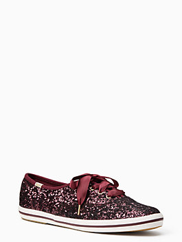 keds x kate spade new york glitter sneakers, deep cherry, medium