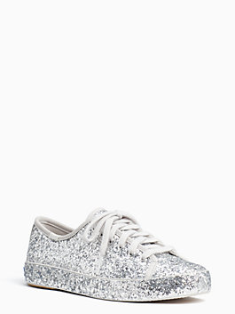 keds x kate spade new york all-over glitter sneakers, silver, medium