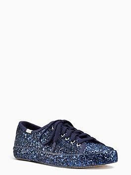 keds x kate spade new york kick glitter sneakers, navy, medium