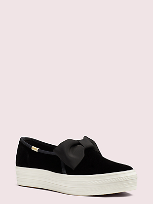 keds x kate spade new york triple decker velvet bow sneakers by kate spade new york non-hover view
