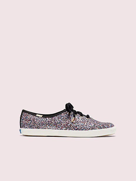 keds x kate spade new york champion glitter sneakers, pink multi, large by kate spade new york