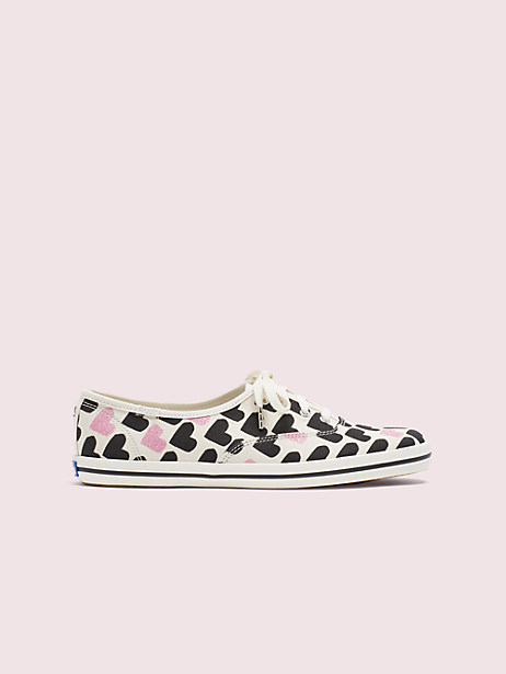 keds x kate spade new york champion hearts-print sneakers, cream, large by kate spade new york