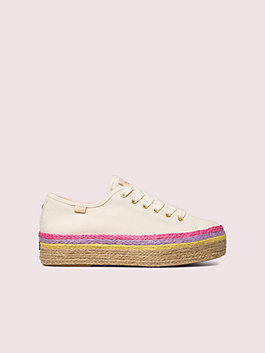 keds x kate spade new york neon raffia platform sneakers, natural multi, medium