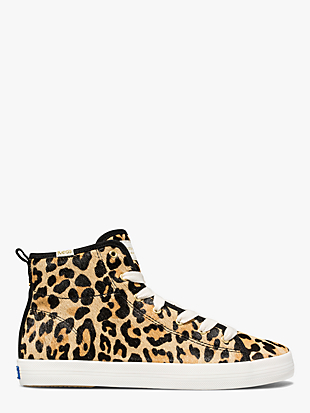 keds x kate spade new york kickstart hi leopard calf hair sneakers by kate spade new york non-hover view
