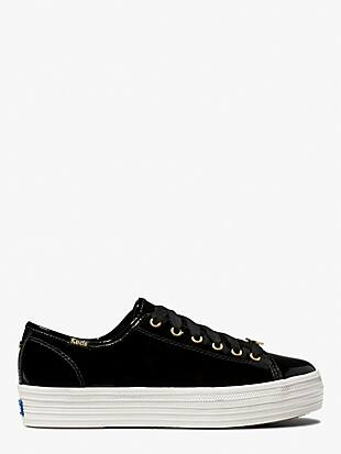 keds x kate spade new york triple kick patent black sneakers by kate spade new york non-hover view