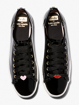 keds x kate spade new york triple kick patent black sneakers by kate spade new york hover view