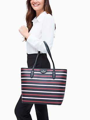 lori sailing stripe tricolor tote by kate spade new york hover view