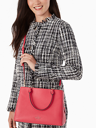 leila medium triple compartment satchel by kate spade new york hover view