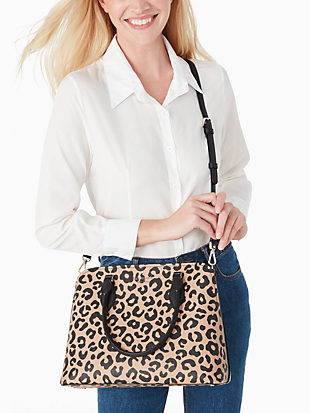 darcy graphic leopard large satchel by kate spade new york hover view