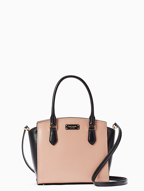 jeanne small satchel, warm vellum/black, large by kate spade new york