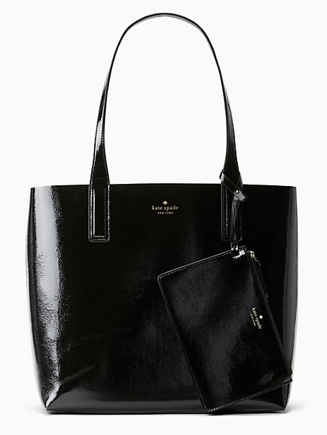 arch patent large reversible tote, black, large by kate spade new york