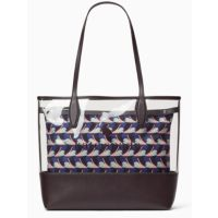 Deals on Ash See-through Geo Bird Large Triple Compartment Tote