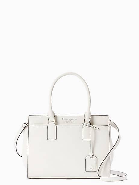 cameron medium satchel, optic white, large by kate spade new york