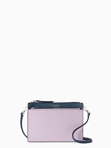cameron zip crossbody, lavender mist/bright white/petrol blue, large by kate spade new york
