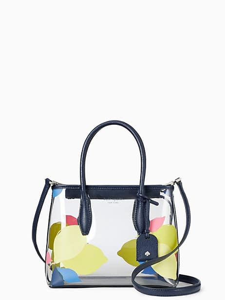 eva see-through lemon zest small top zip satchel by kate spade new york