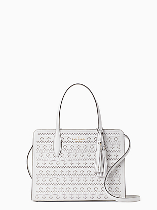 rowe perf medium top zip satchel by kate spade new york non-hover view