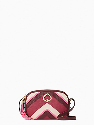 케이트 스페이드 Kate Spade kourtney chevron camera bag,PINK MULTI