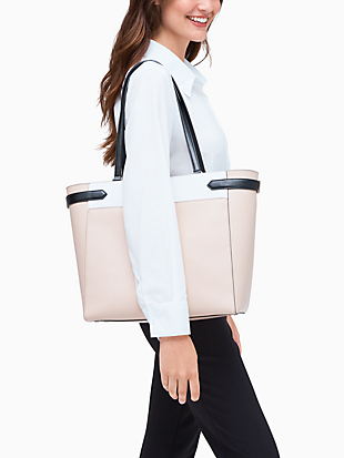 staci colorblock laptop tote by kate spade new york hover view