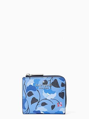 케이트 스페이드 Kate Spade staci small l zip bifold wallet,BLUE MULTI