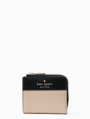 staci colorblock small l-zip bifold wallet by kate spade new york non-hover view
