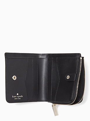 staci colorblock small l-zip bifold wallet by kate spade new york hover view