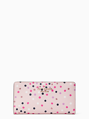 staci festive confetti large slim bifold wallet by kate spade new york non-hover view