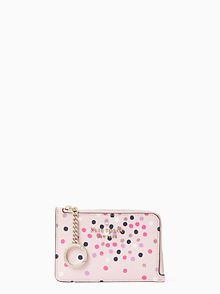 staci festive confetti medium l-zip card holder by kate spade new york non-hover view