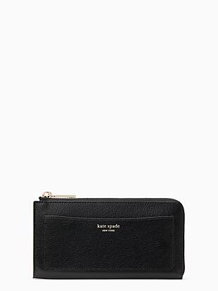 케이트 스페이드 Kate Spade eva l zip continental wallet,BLACK/WARM BEIGE