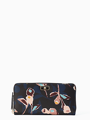 케이트 스페이드 Kate Spade dawn paper rose large continental wallet,BLACK MULTI