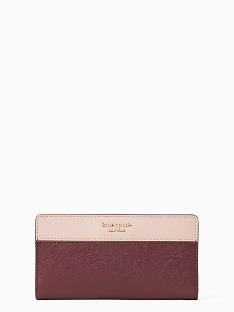 stacy large slim bifold wallet, cherrywood/warm vellum, large by kate spade new york