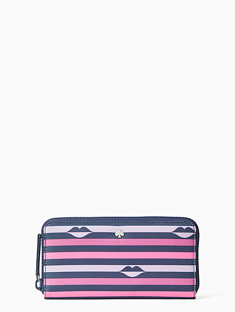 jae nylon lip print large continental wallet by kate spade new york