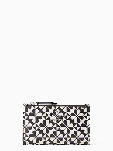 hollie spade clover geo small slim bifold wallet, black multi, large by kate spade new york
