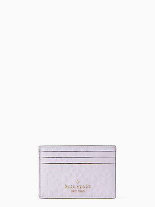 케이트 스페이드 Kate Spade hollie spade clover geo embossed small slim card holder,LIGHT FROZEN LILAC